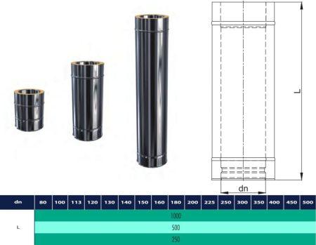 INOX/INOX szigetelt cső 1000mm D200/260 (gravitációs)
