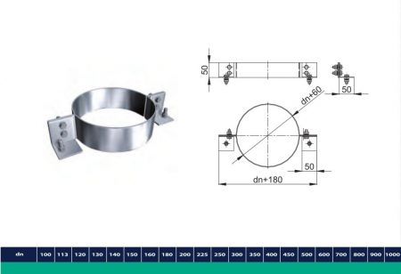 INOX/INOX szigetelt csőbilincs D200/260 (gravitációs)