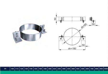 INOX/INOX szigetelt csőbilincs D225/285 (gravitációs)