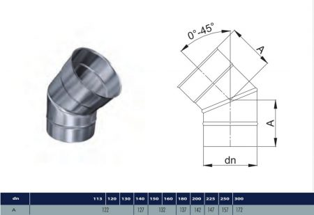 INOX adjustable elbow 45° D130 (gravitation)