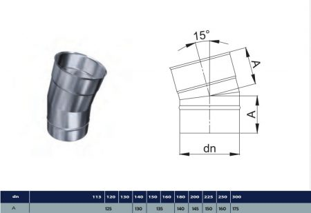 INOX elbow 15° D400 (gravitation)
