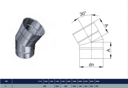 INOX elbow 30° D130