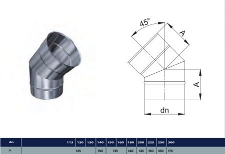 INOX elbow 45° D450 (gravitation)