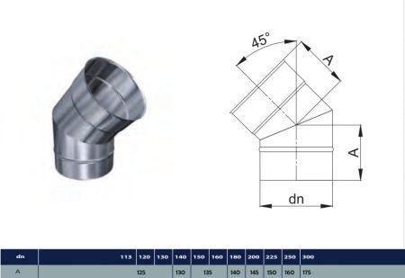 INOX könyök 45° D400 (gravitációs)