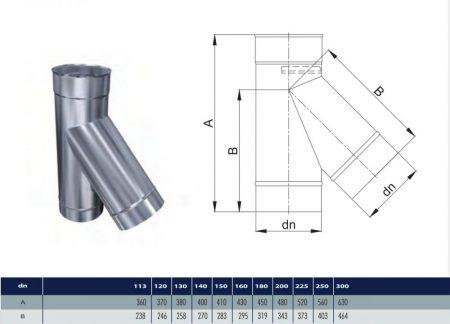 INOX T-pipe 45° D130 (gravitation)
