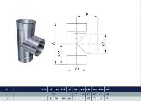 INOX T-pipe 90° D130 (gravitation)