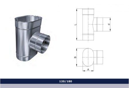 INOX ovál bekötő T-idom 90° D120x180