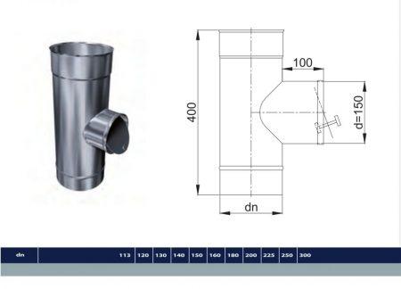 INOX T-idom, a kör alakú huzatszabályozóhoz előkészítve D150 (gravitációs)