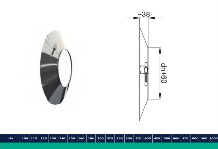 INOX/INOX szigetelt faláttörést takaró gallér D200/260