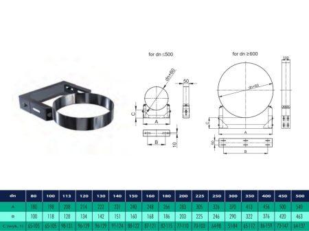 INOX/INOX szigetelt fali rögzítő bilincs, erősített, távtartás 70-103mm a faltól D225/285